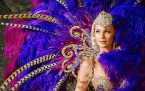 Картинка девушка, украшения, перья, наряд, карнавал