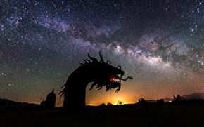 Картинка космос, звезды, ночь, дракон, млечный путь