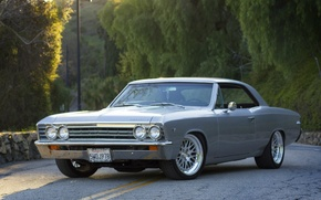 Обои chevrolet, chevelle, malibu, 1967, grey, coupe, шевроле