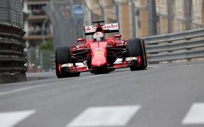 Картинка Ferrari, Formula 1, Vettel, Monte Carlo, SF15T, Барьеры