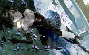 Картинка вода, девушка, отражение, города, лепестки, лежит, Cherry