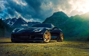 Обои chevrolet, corvette, z06, adv.1, wheels, black, mountain, sun, ligth