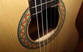Картинка обои, гитара, струны, роспись
