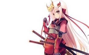 Картинка катана, доспехи, маска, самурай, белый фон, рога, малышка, красная лента, вакидзаси, длинные белые волосы
