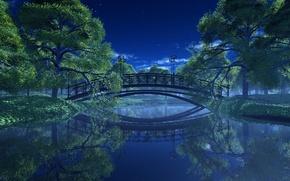Обои деревья, пейзаж, ночь, мост, парк, река, фонари