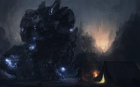 Картинка темно, человек, робот, арт, палатка, гигантский, привал, Yingluo Wang