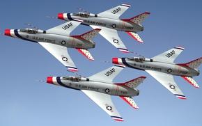 Картинка авиация, группа, Super Sabre, F100D