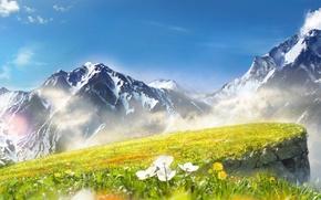 Картинка небо, облака, цветы, горы, art