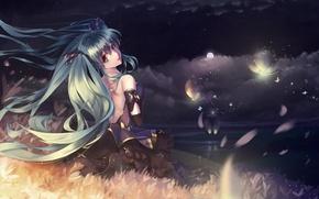 Обои hatsune miku, nishiro ryoujin, арт, аниме, луна, девушка, ночь, звезды, маяк, небо, vocaloid, облака