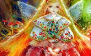 Картинка цветы, крылья, фея, девочка, мухоморы, кружева, длинные волосы, вышивка, златовласка, лесная фея