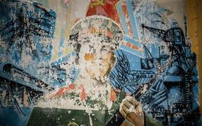 Картинка стена, рисунок, солдат