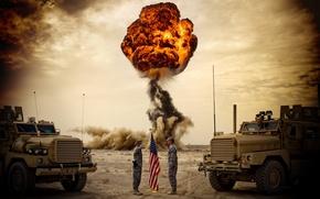 Обои флаг, сша, Грузовики, солдаты, небо, взрыв