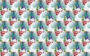 Картинка зима, снег, фон, праздник, текстура, арт, Новый год, снеговик, колокольчик