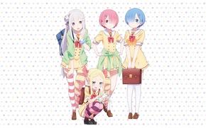 Картинка anime, art, Emilia, Ram, Beatrice, Rem, Puck, Re: Zero kara Hajimeru Isekai Seikatsu