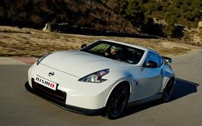 Картинка белый, Nissan, автомобиль, вид спереди, 370Z, Nismo
