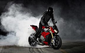 Картинка Red, Drift, Bike, BMW S1000 R Concept