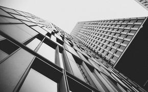 Картинка windows, black and white, buildings, skyscrapers, b/w
