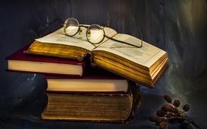 Картинка книги, очки, ольха, A pile of knowledge