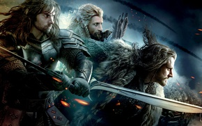 Обои Fire, Movies, 2012, Men, The Hobbit, An Unexpected Journey, Richard Armitage, Weapons, 2013, Sword, Films, ...