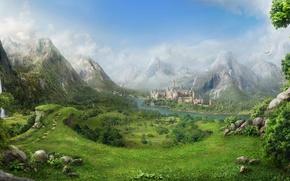 Картинка Дерево, Водопад, Гора, Замок, Пейзаж, Фантастика