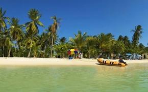 Обои пальмы, лодка, тропики, отпуск, 152