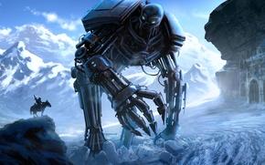Картинка снег, горы, конь, здание, человек, робот, меч, арт, всадник, гигантский, Loyvet Pierre