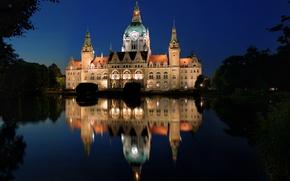 Обои отражение, Германия, деревья, огни, озеро, ночь, дворец, Hannover, Ганновер, Новая Ратуша, Neues Rathaus
