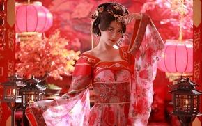 Картинка девушка, украшения, прическа, костюм, азиатка, фонарики, китайский, этно