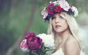 Картинка цветы, портрет, букет, венок, пионы, Nelly Lehtinen