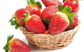 Обои листики, ягоды, клубника, корзинка