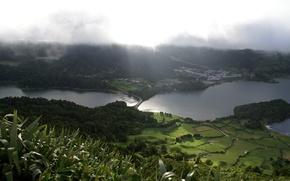 Картинка зелень, пейзаж, природа, туман, поля, озера, луга