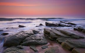 Картинка море, волны, небо, природа, камни, вечер