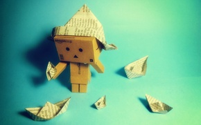 Обои кораблики, danbo, коробка, бумага