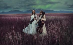 Картинка поле, музыка, девушки, инструменты