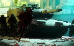 Обои оружие, война, солдаты, город, улица, Leopard, Leopard 2A7, танк, амуниция