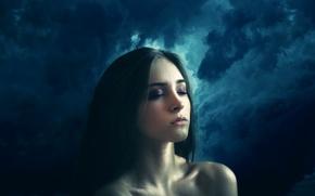 Обои тучи, шторм, девушка, The calm within the storm