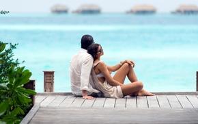 Обои двое, пара, отдых, relax, океан, курорт