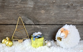 Картинка снег, праздник, игрушки, Новый Год, коза, wood, New Year, holiday, decoration, goat, 2015