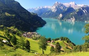 Картинка лес, снег, пейзаж, горы, озеро, скалы, Швейцария, городок, Switzerland, scenery, дома., Morschach, Shwyz