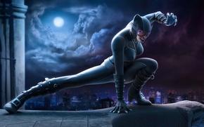 Картинка кошка, супергерой, город, латекс, луна, ночь, Catwoman, жещина, костюм