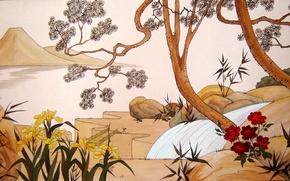Картинка цветы, дерево, шелк, Япония, Живопись, живопись по щелку