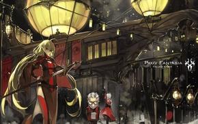 Картинка девушка, город, оружие, люди, меч, аниме, арт, фонари, pixiv fantasia, saberiii, armeechef