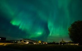 Картинка небо, звезды, ночь, северное сияние, городок, Aurora Borealis