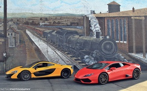 Обои стена, рисунок, поезд, паровоз, McLaren P1, Lamborghini Huracan