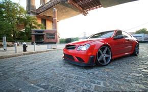 Картинка мост, улица, Mercedes Benz, AMG, Black Series, Concavo, CLK63