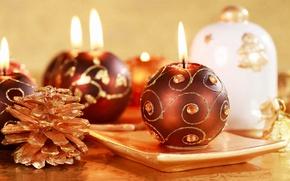 Картинка праздник, новый год, рождество, свечи, christmas, new year, шишка, свечка, подставка