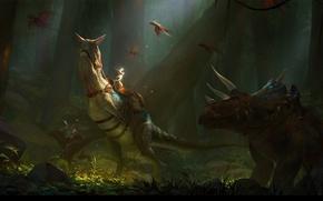 Картинка лес, рисунок, динозавр, фэнтези, арт, всадник, fantasy, forest, мгла, art, rider, haze, солнечный луч, dinosaur, ...