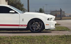 Картинка дорога, белый, трава, Mustang, Ford, Shelby, мустанг, мускул кар, форд, muscle car, gt500, красные полосы