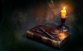Картинка свеча, очки, книга, воск, Just memories