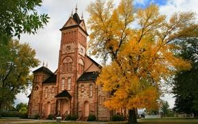 Картинка осень, деревья, Франция, Париж, здание, Paris, trees, France, autumn, Табернакль, Tabernacle